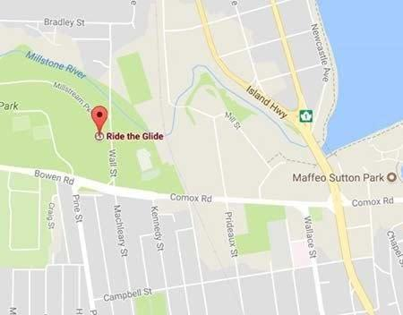 Ride the Glide Nanaimo Bowen Park location Map