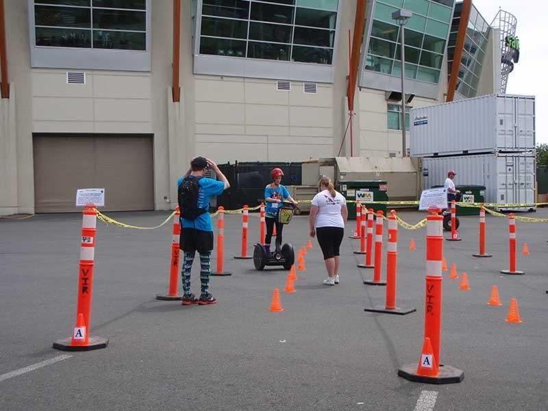 Riding a segway at UrbaCity Challenge Victoria 2012
