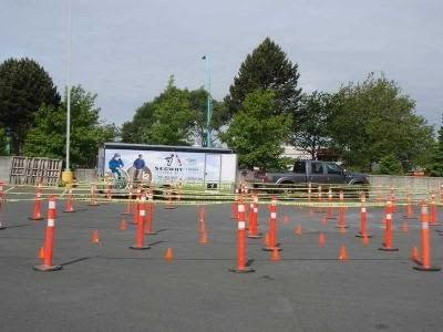 Got our very simple beginner Segway course set up and ready to go for UrbaCity Challenge Victoria 2012
