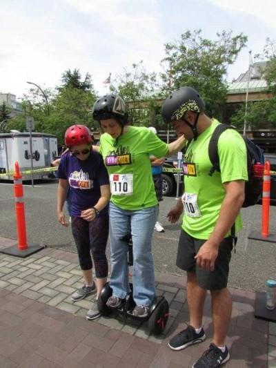 Not too sure yet about riding the Ninebot MiniPRO at UrbaCity Challenge Victoria for the first time 2016