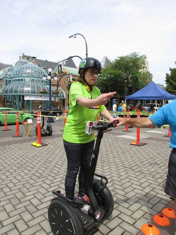 Beanie bag toss from a Segway at UrbaCity Challenge Victoria 2016