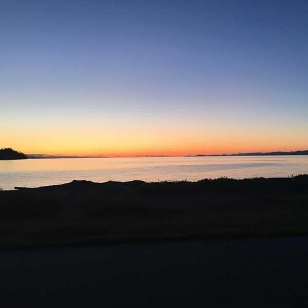 Enjoying a lovely sunset on our mini vacation in Parksville
