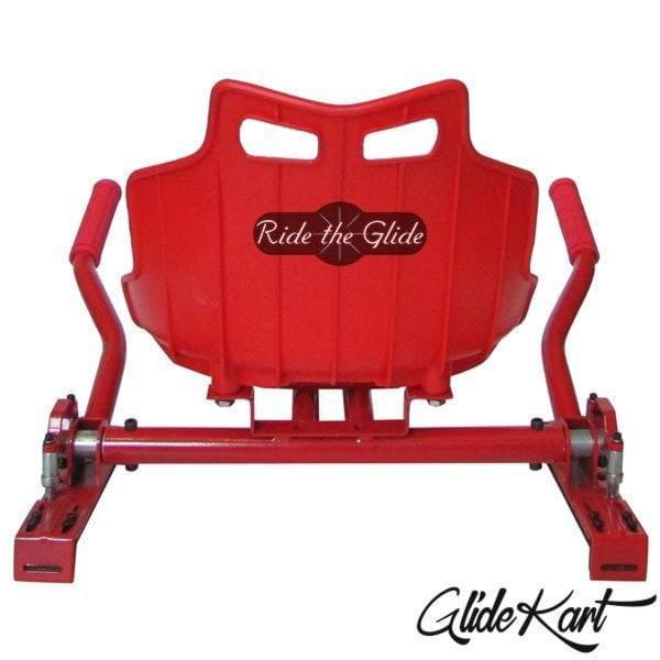 Red GlideKart hoverboard seat attachment by Ride the Glide back