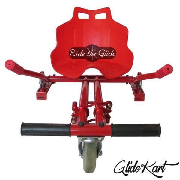 Red GlideKart go-kart attachment for hoverboard by Ride the Glide front