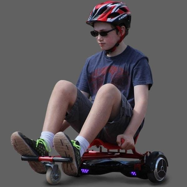 Riding a red GlideKart hoverboard seat attachment by Ride the Glide