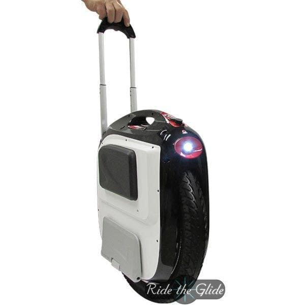 Gotway MSuper V3 1600 watt trolley handle extended, headlight on. Sold by Ride the Glide in Canada