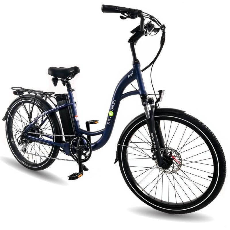 Ride the Glide Regal step-through commuter e-bike in dark blue