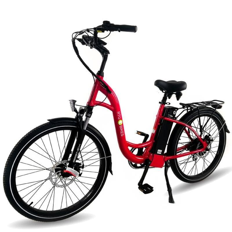 Ride the Glide Regal step-through commuting electric bike in red