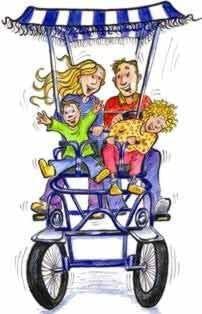 Pedal coach - families, couples or friends group pedal bike rentals