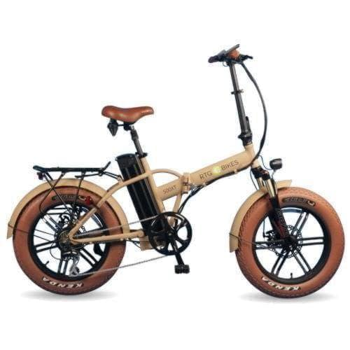 RTG 500XT folding electric fat bike, new 2019 model in sand, Ride the Glide