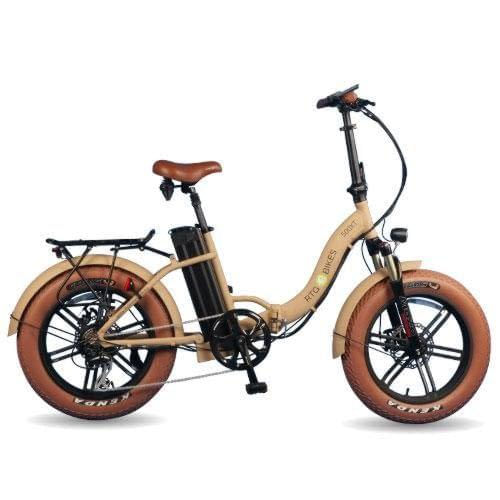 RTG 500XT step through folding electric fat bike, new 2019 model in sand, Ride the Glide