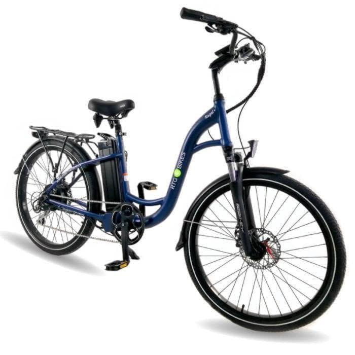 Ride the Glide Regal Plus commuting step-through e-bike in dark blue
