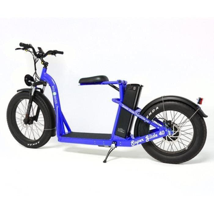 Super Glide dual battery fat electric stand-on bike by Ride the Glide, Blue
