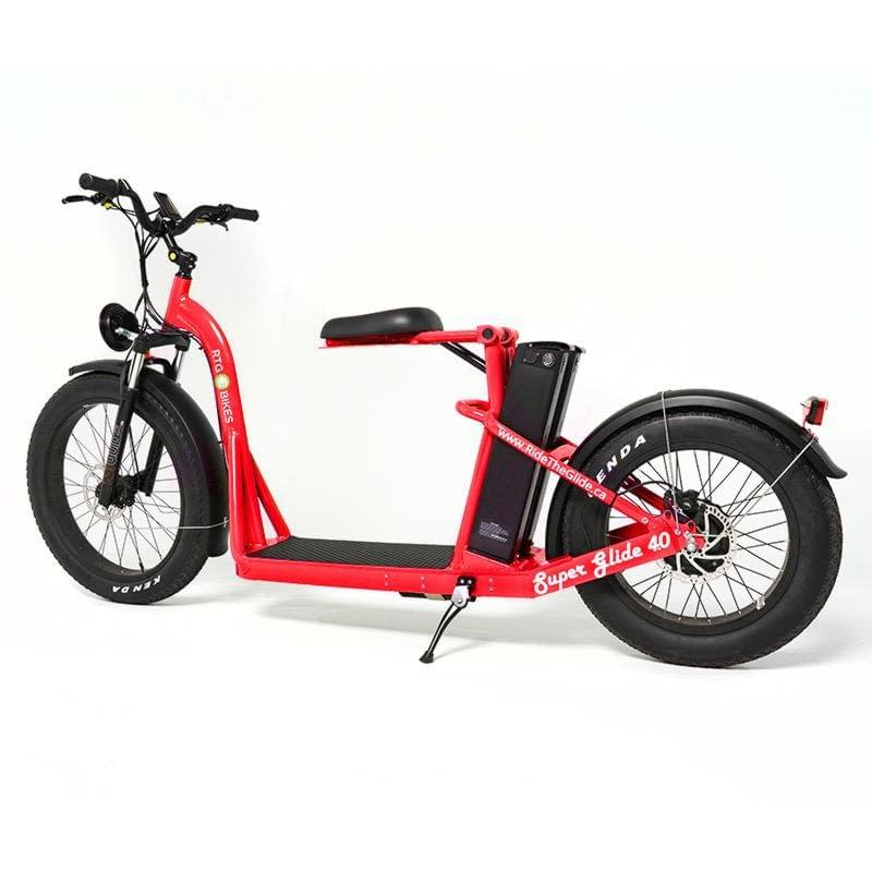 Super Glide dual battery fat electric stand-on bike by Ride the Glide, Red